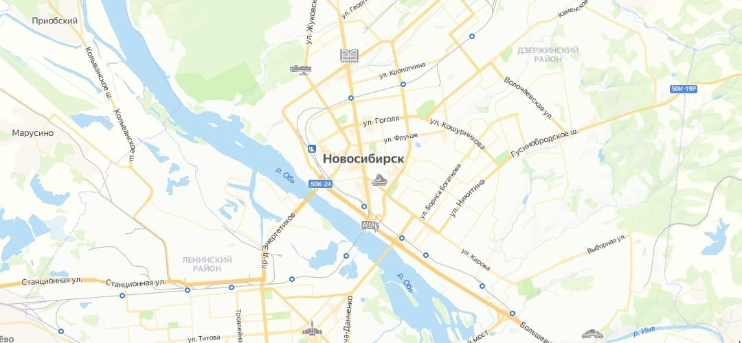 Карта всех районов города Новосибирск и Новосибирской области